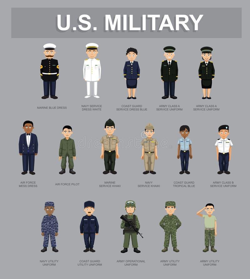 Иллюстрация вектора персонажей из мультфильма США воинская Unifrom иллюстрация вектора