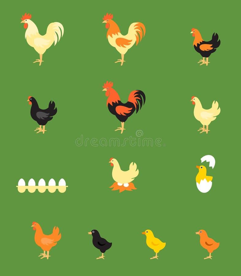 Иллюстрация вектора петуха, курицы, цыпленока иллюстрация вектора
