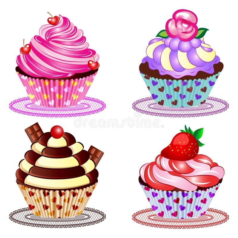 Иллюстрация вектора пирожного установленная иллюстрация вектора