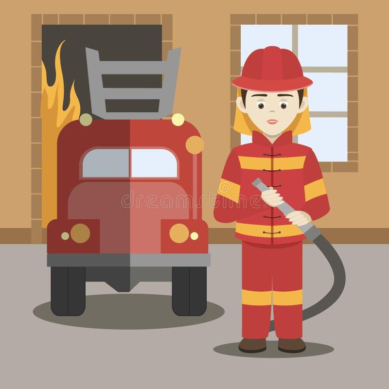 Иллюстрация вектора пожарного иллюстрация вектора