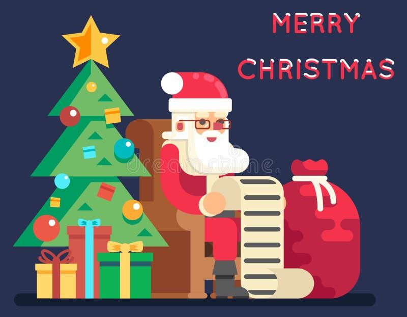 Иллюстрация вектора поздравительной открытки дизайна значка Нового Года списка подарков колокола дерева Санта Клауса рождества пл бесплатная иллюстрация