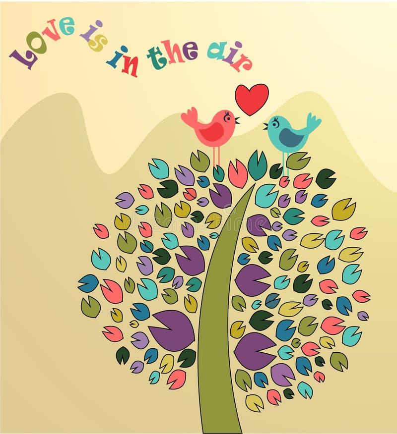 Иллюстрация вектора покрашенных дерева и птиц стоковые фото