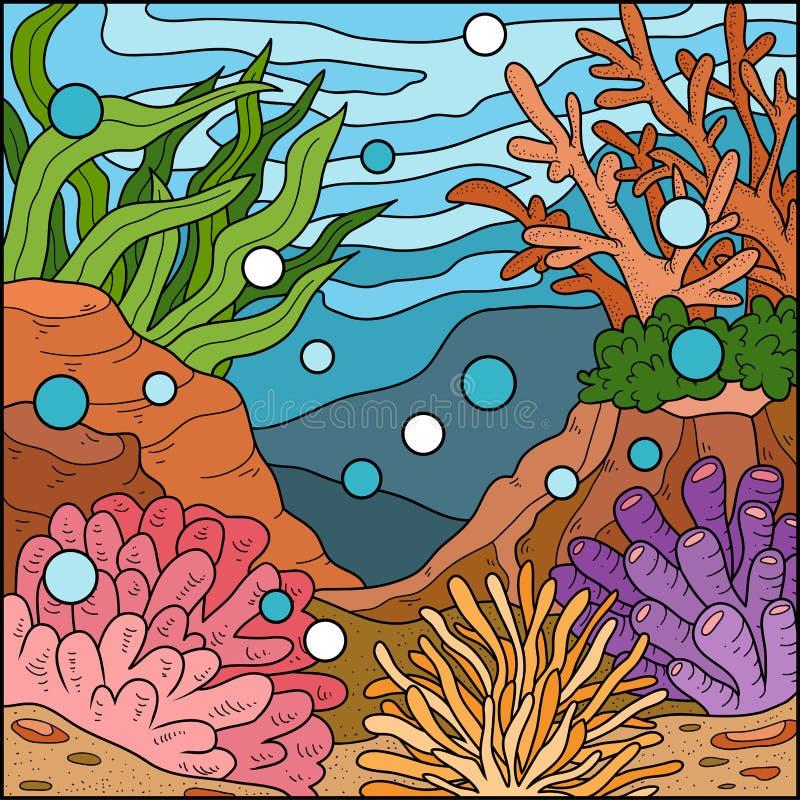 Иллюстрация вектора, предпосылка (коралловый риф) иллюстрация штока