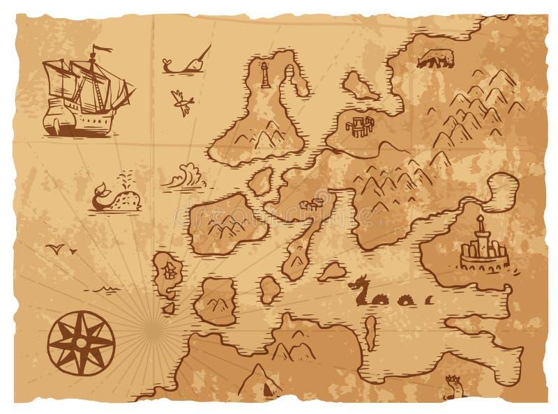 Иллюстрация вектора предпосылки землеведения старой винтажной ретро старой карты античная бесплатная иллюстрация