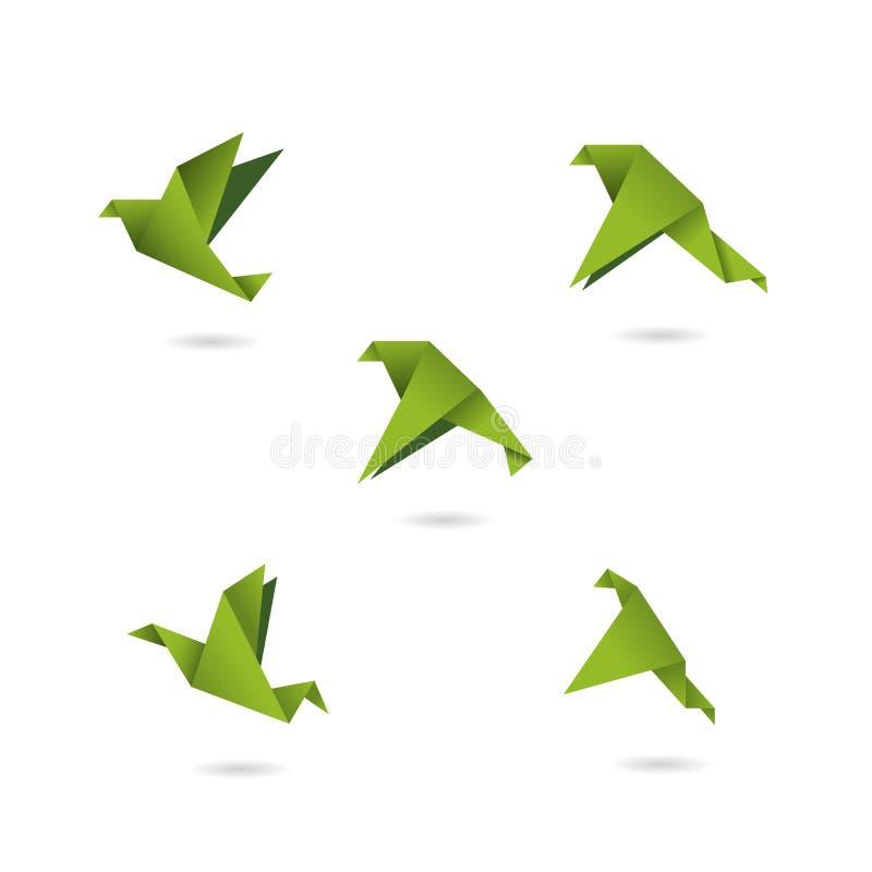 Иллюстрация вектора птиц зеленого цвета Origami установленная значками иллюстрация штока