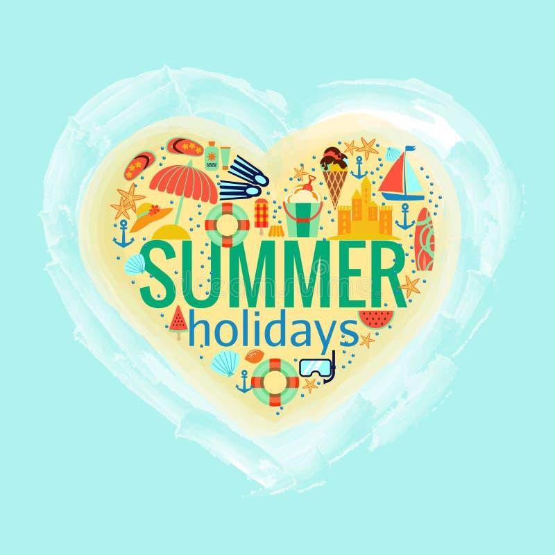 Иллюстрация вектора плаката сердца летних отпусков иллюстрация штока