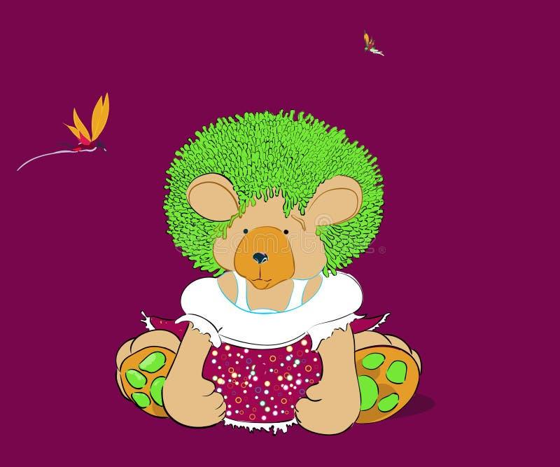 Иллюстрация вектора плюшевого медвежонка девушки стоковая фотография