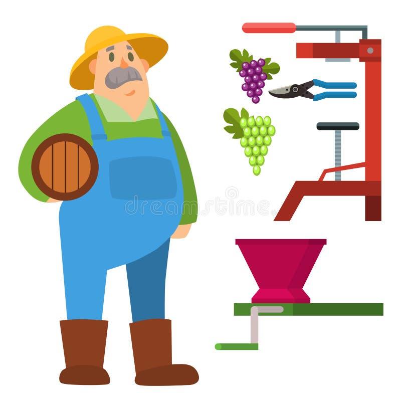 Иллюстрация вектора работы людей сбора фермы земледелия характера человека сада органическая внешняя иллюстрация вектора