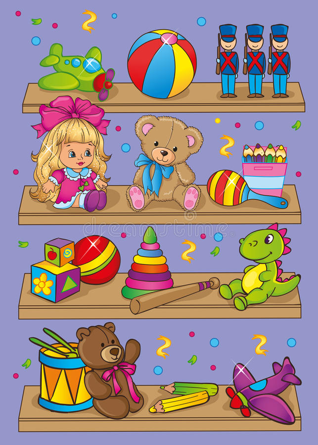 Иллюстрация вектора различных игрушек на полках иллюстрация штока