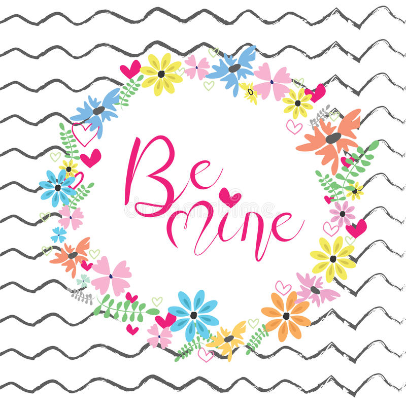 Иллюстрация вектора рамки цветков Весна или дизайн лета для поздравительных открыток приглашения и стоковые изображения
