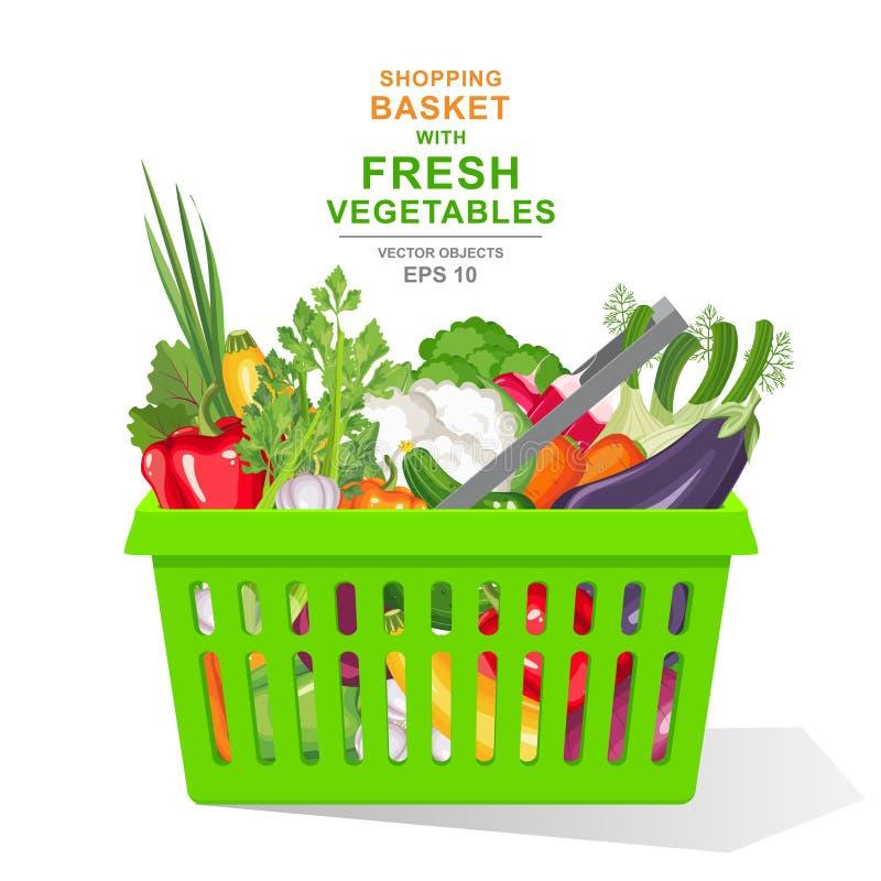 иллюстрация вектора реалистическая Красочные свежие органические овощи и травы в зеленой корзине для товаров изолированной на бел иллюстрация штока