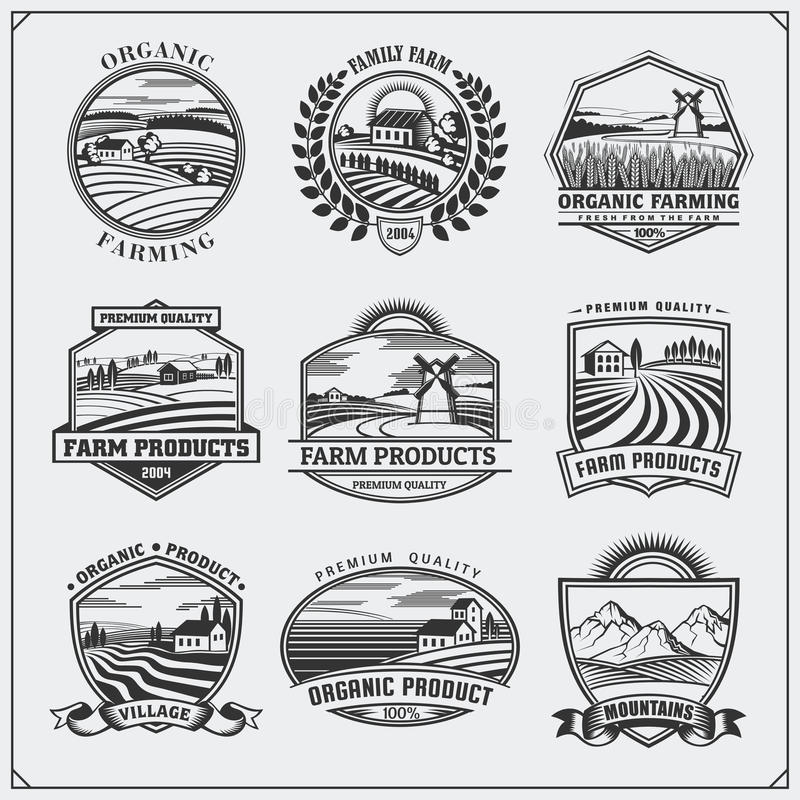 Иллюстрация вектора ретро ландшафтов Ярлыки свежих продуктов фермы, значки, эмблемы и элементы дизайна Дизайн органических и экол бесплатная иллюстрация