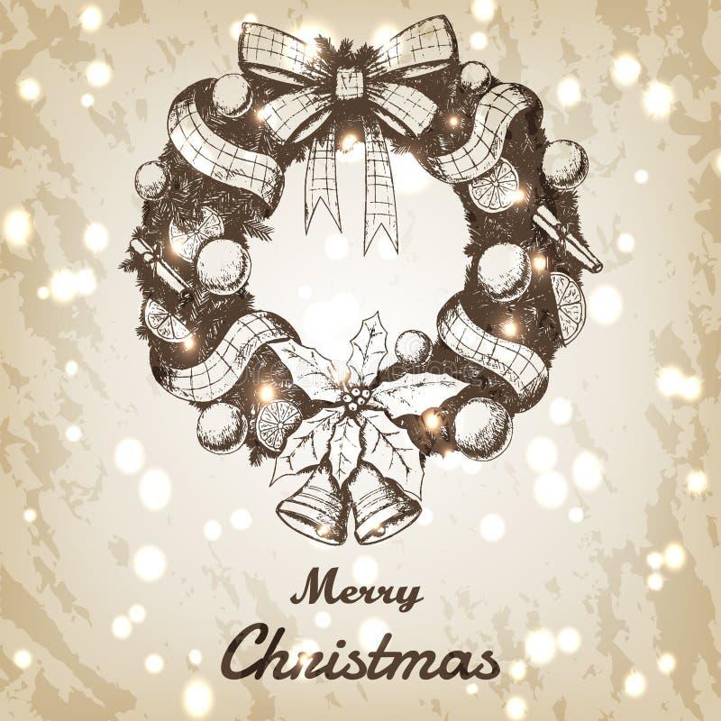 Иллюстрация вектора рождества и Нового Года нарисованная рукой Декоративный эскиз венка, винтажный стиль коричневая бумага grunge бесплатная иллюстрация