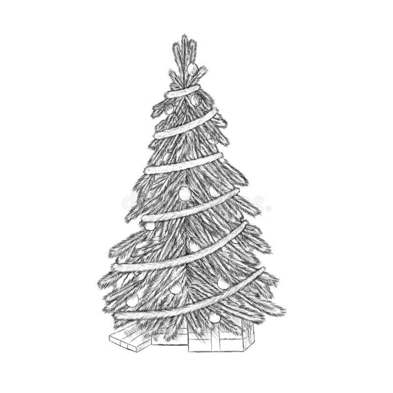 Иллюстрация вектора рождества нарисованная рукой - дерево Xmas, винтажный стиль бесплатная иллюстрация