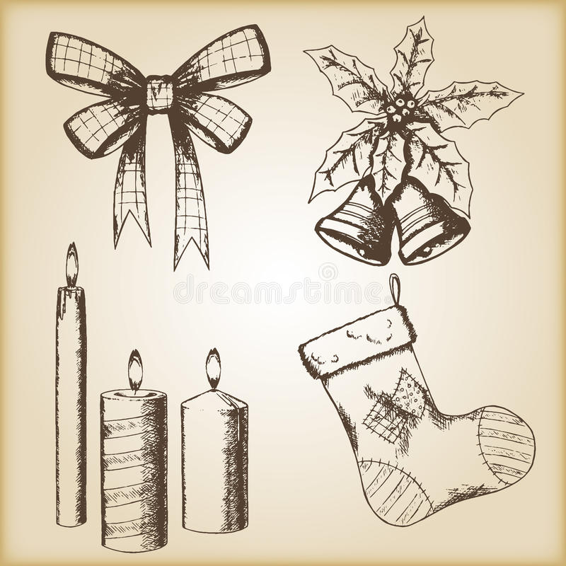 Иллюстрация вектора рождества нарисованная рукой - смычок, свечи, носок и колоколы, винтажный стиль бесплатная иллюстрация