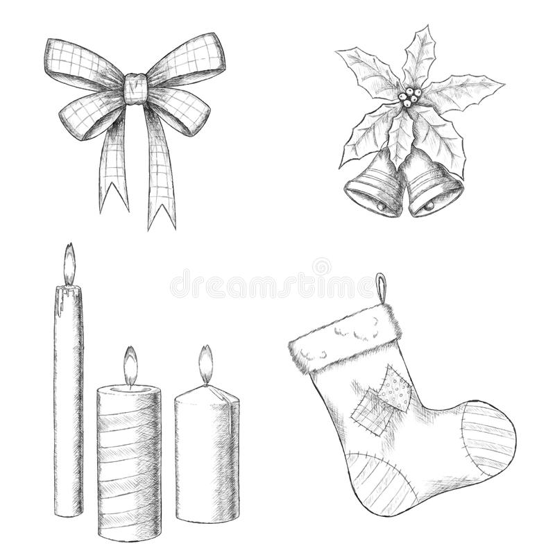 Иллюстрация вектора рождества нарисованная рукой - смычок, свечи, носок и колоколы, винтажный стиль иллюстрация вектора