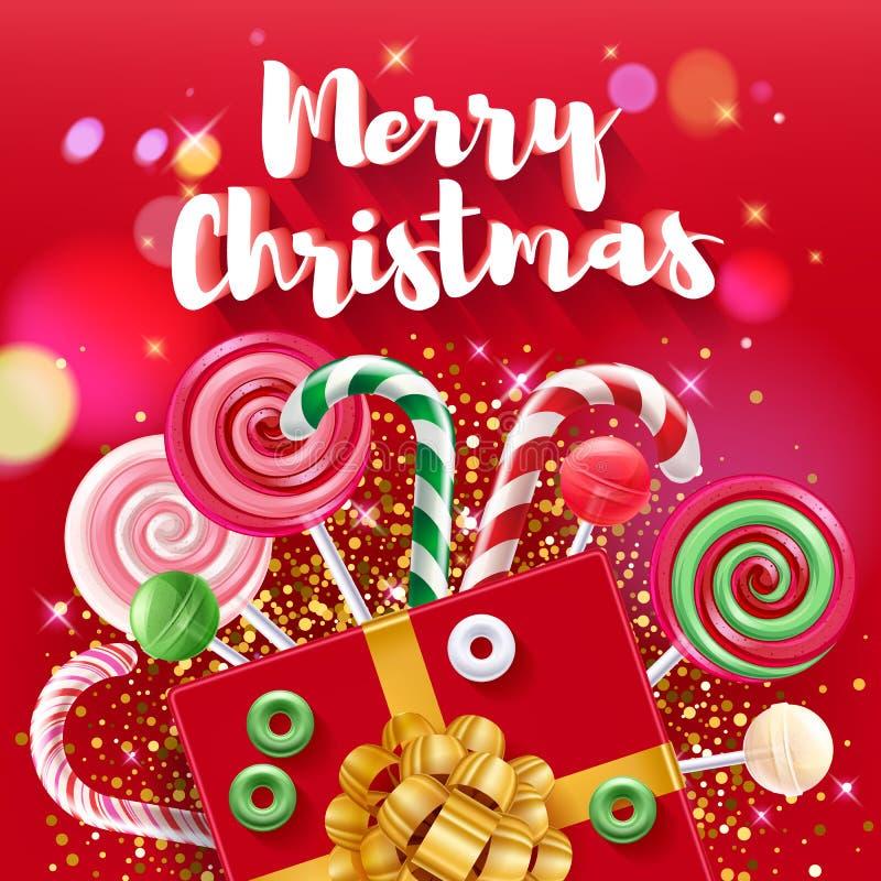 Иллюстрация вектора рождества приветствуя красочная с помадками иллюстрация вектора