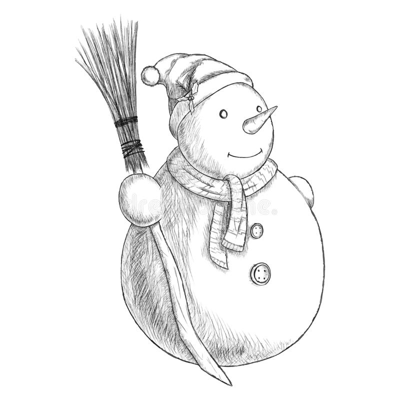 Иллюстрация вектора ручки рождества нарисованная рукой - снеговик в шляпе зимы с веником, винтажным стилем бесплатная иллюстрация