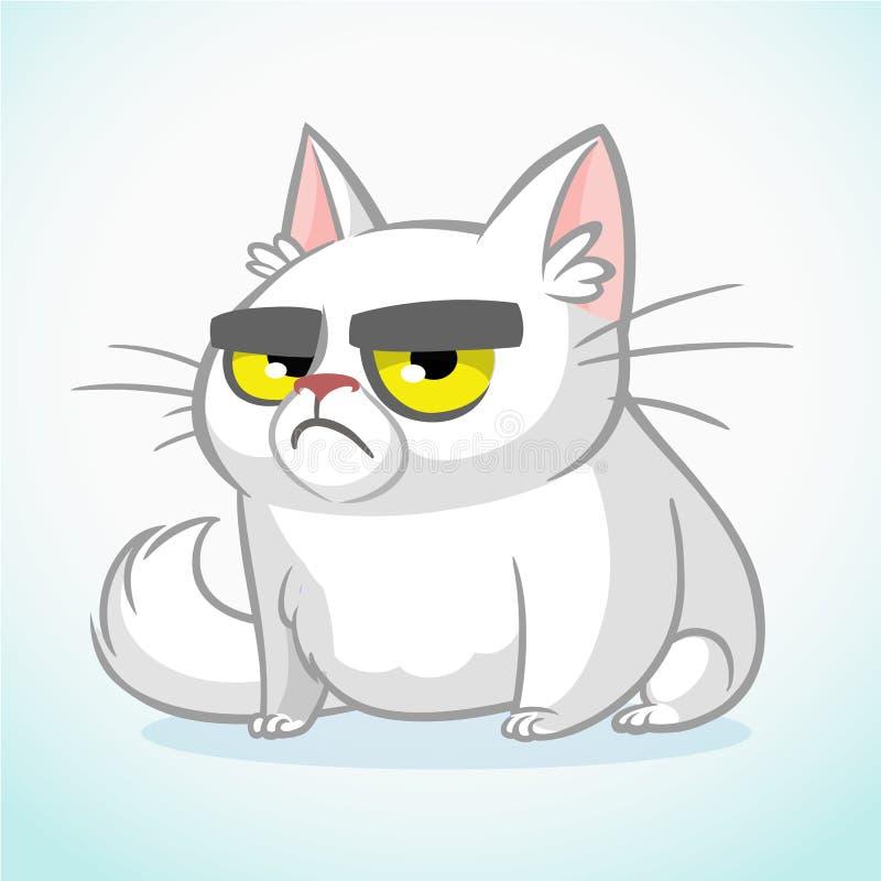 Иллюстрация вектора сварливого белого кота Милый тучный кот шаржа иллюстрация вектора