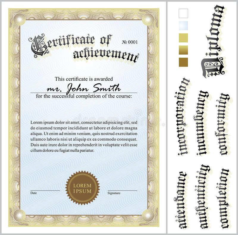 Иллюстрация вектора сертификата золота шаблон бесплатная иллюстрация