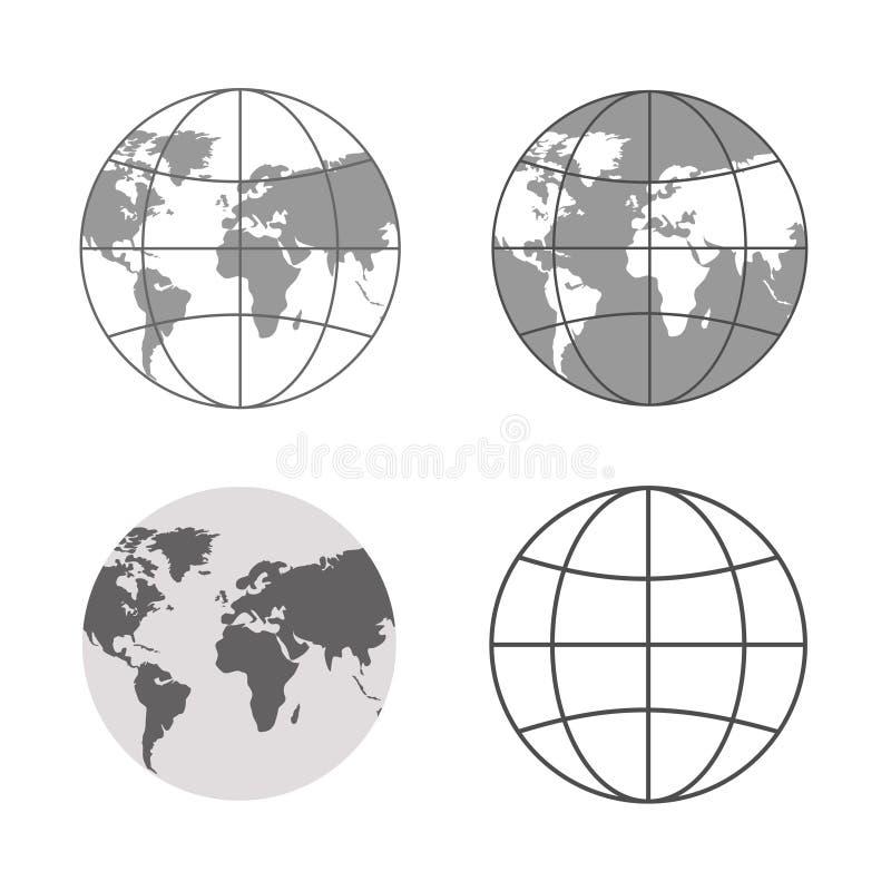 Иллюстрация вектора серых значков глобуса иллюстрация штока