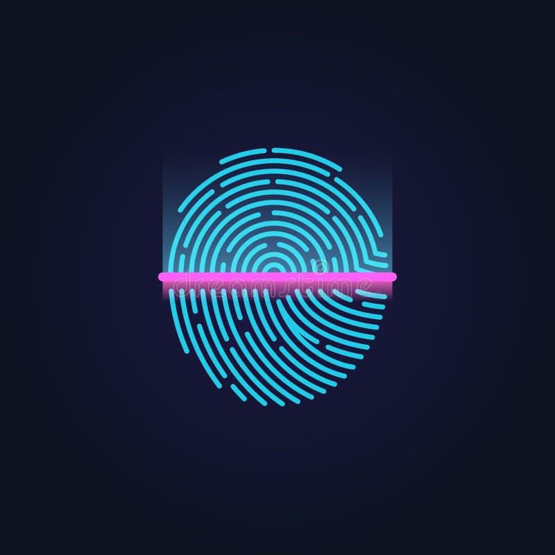 Иллюстрация вектора системы опознавания электронной развертки отпечатка пальцев бесплатная иллюстрация