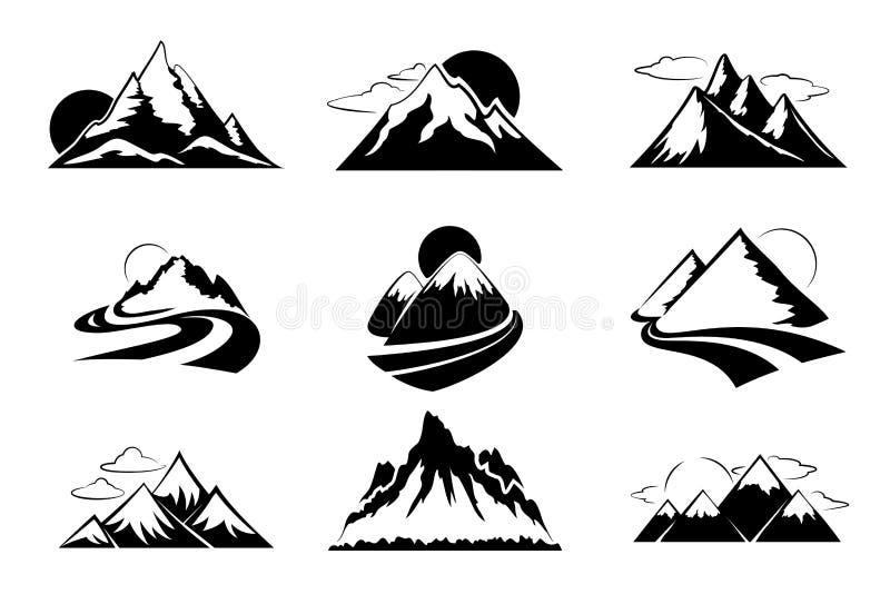 Иллюстрация вектора силуэтов гор Комплект горы для перемещения внешнего отдыха пешего бесплатная иллюстрация