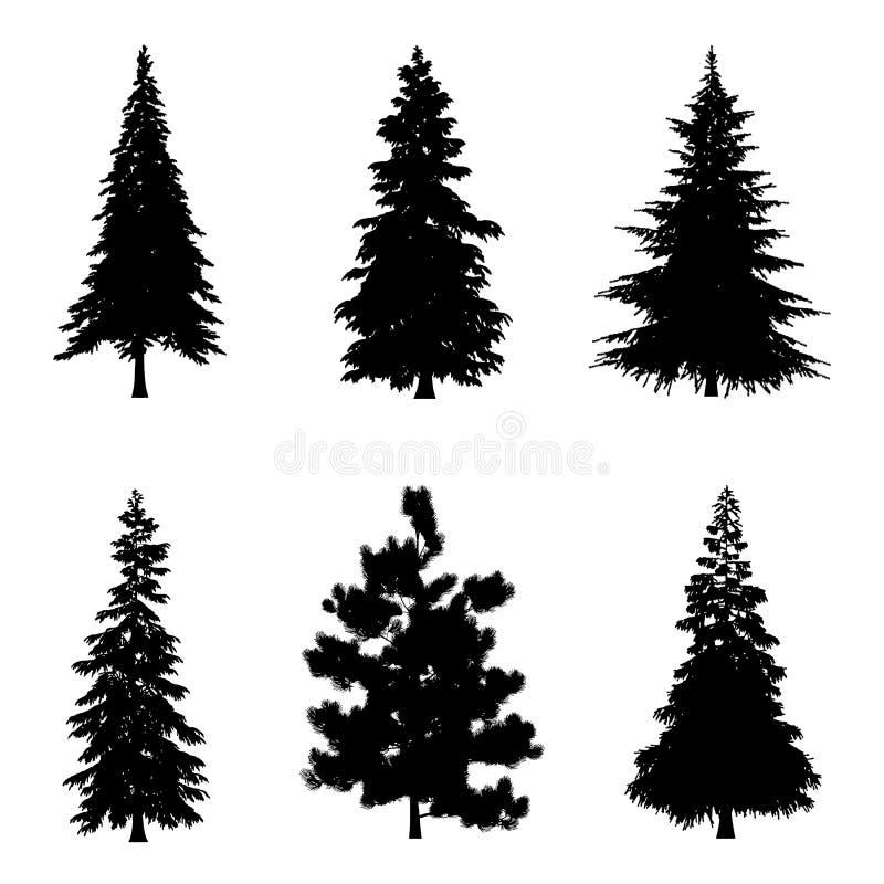 Иллюстрация вектора силуэтов дерева иллюстрация вектора