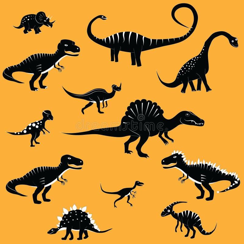 Иллюстрация вектора собрания шаржа динозавра установленная шуточная фантазия тиранозавра бесплатная иллюстрация