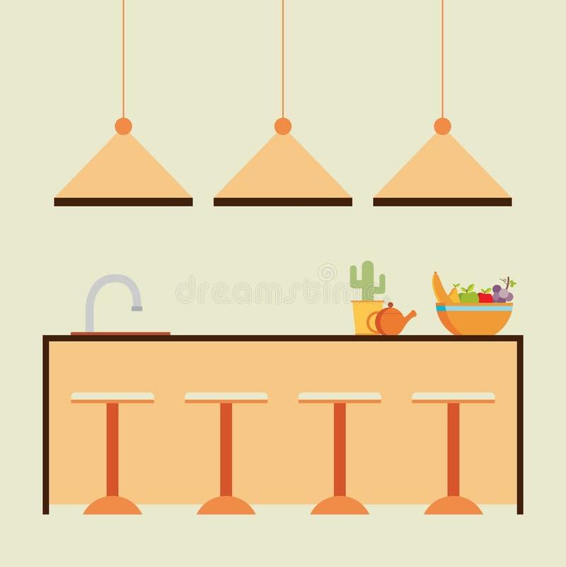 Иллюстрация вектора современной плоской кухни дизайна внутренняя иллюстрация штока