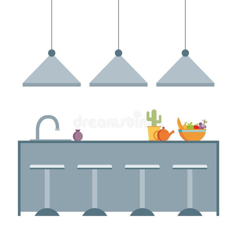 Иллюстрация вектора современной плоской кухни дизайна внутренняя бесплатная иллюстрация