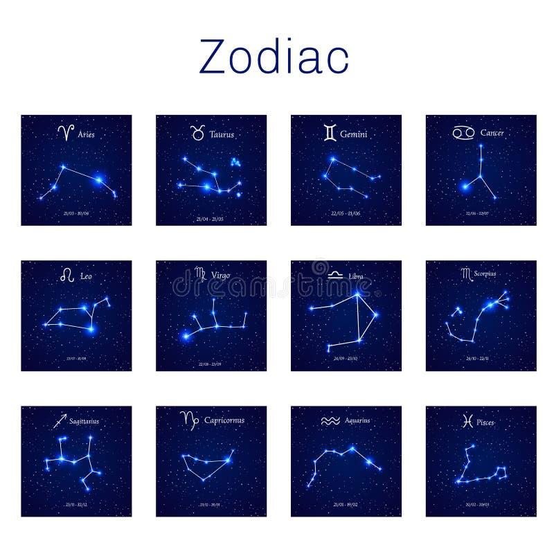 Иллюстрация вектора созвездий зодиака иллюстрация штока