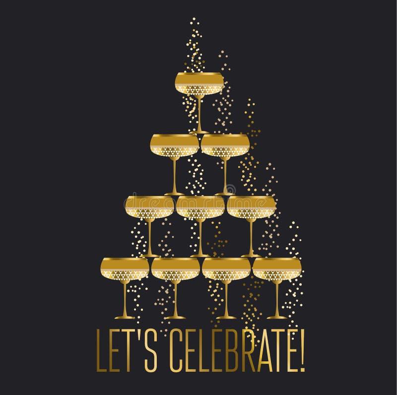 Иллюстрация вектора стеклянной пирамиды шампанского золота сверкная плоская бесплатная иллюстрация