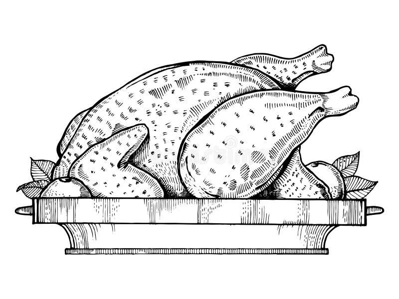 Иллюстрация вектора стиля гравировки жареной курицы иллюстрация штока