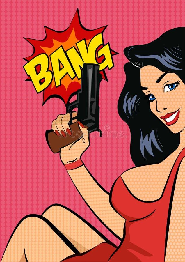 Иллюстрация вектора стиля искусства шипучки Женщина с пушкой иллюстрация штока