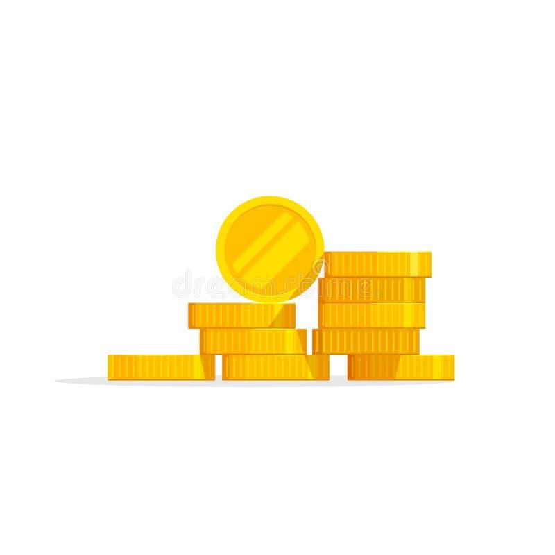 Иллюстрация вектора стога монеток, значок плоский, изолированные деньги кучи иллюстрация штока