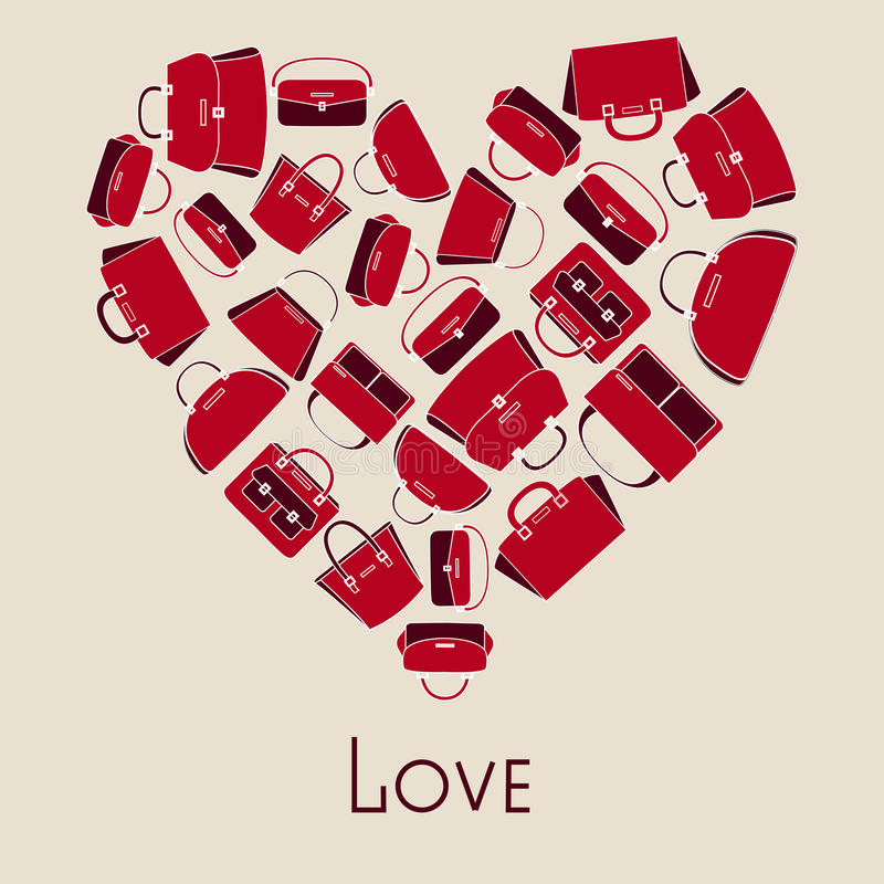Иллюстрация вектора сумок в сердце иллюстрация штока