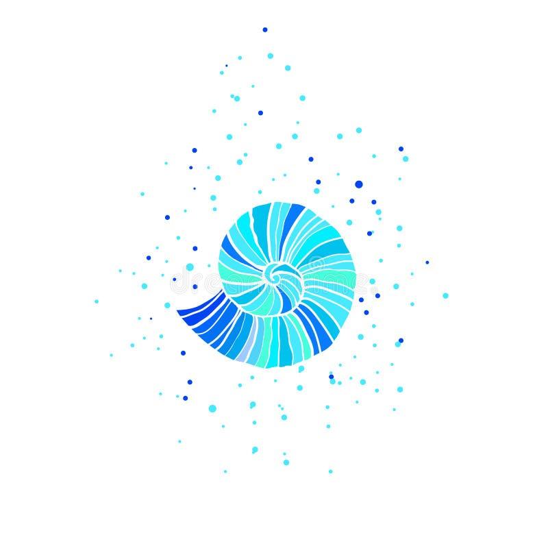 Иллюстрация вектора с аммонитом абстрактная тема моря предпосылки абстракции бесплатная иллюстрация