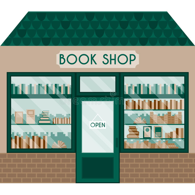 Иллюстрация вектора с книжным магазином иллюстрация штока