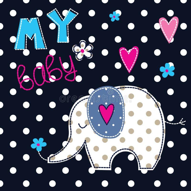 Иллюстрация вектора с милым слоном бесплатная иллюстрация