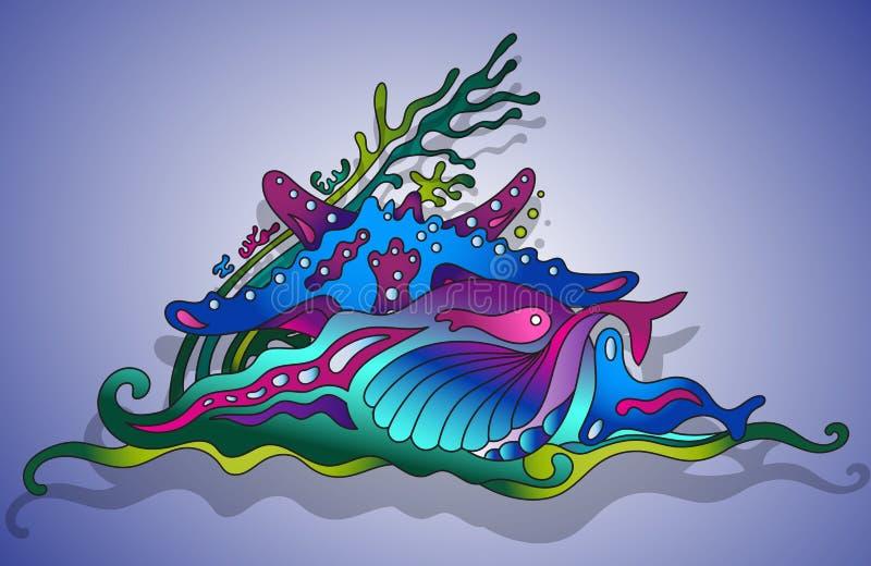 Иллюстрация вектора с подводным миром иллюстрация вектора