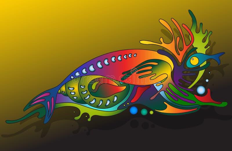 Иллюстрация вектора с подводным миром иллюстрация штока