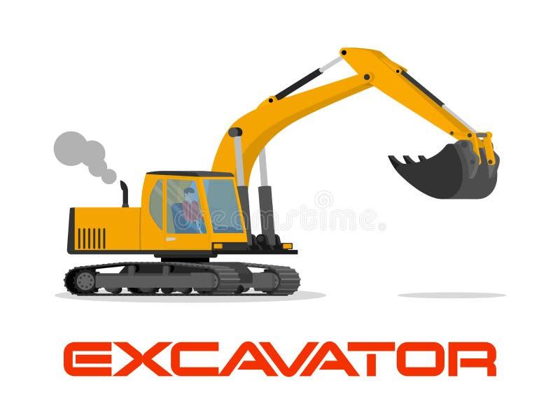 Иллюстрация вектора с плоским промышленным экскаватором бесплатная иллюстрация