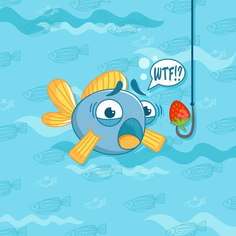 Иллюстрация вектора с смешными рыбами и клубникой юмористика иллюстрация штока