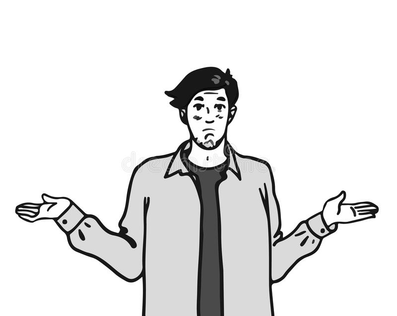 Иллюстрация вектора с смешным персонажем из мультфильма удивленный парень битника бесплатная иллюстрация