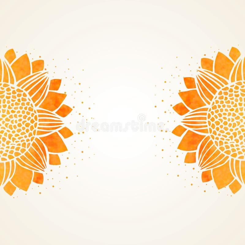 Иллюстрация вектора с солнцецветами акварели иллюстрация вектора