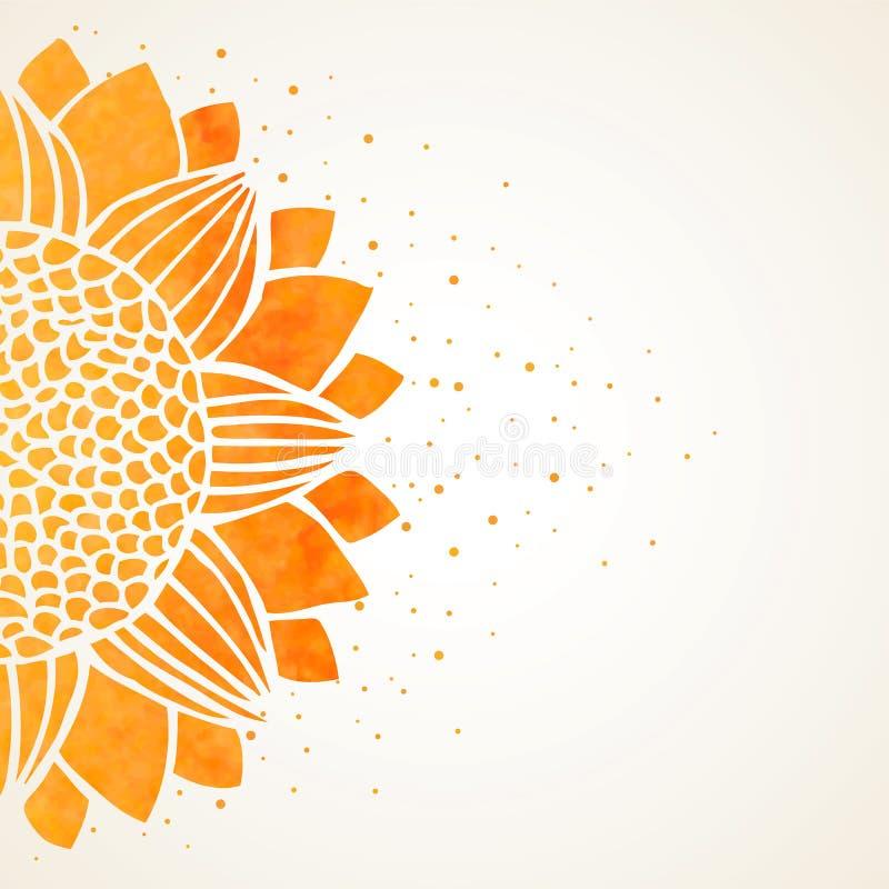 Иллюстрация вектора с солнцецветом акварели иллюстрация вектора