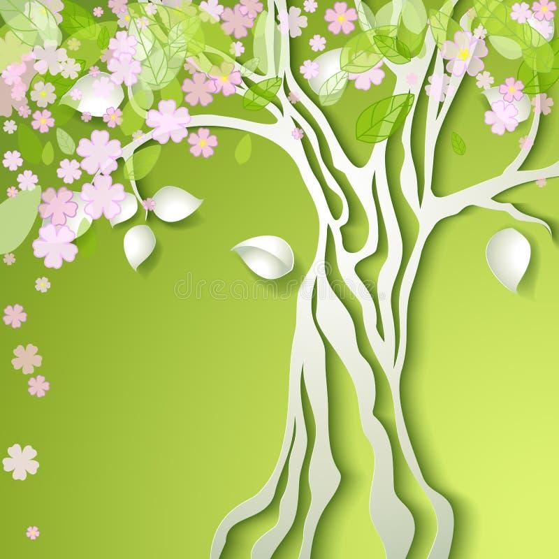 Иллюстрация вектора с стилизованным деревом весны иллюстрация штока