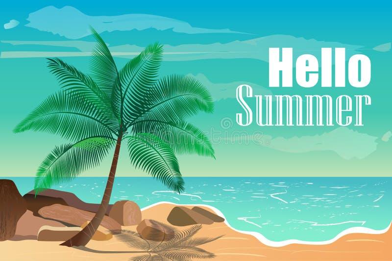 Иллюстрация вектора с тропическим пляжем Здравствуйте! лето иллюстрация штока