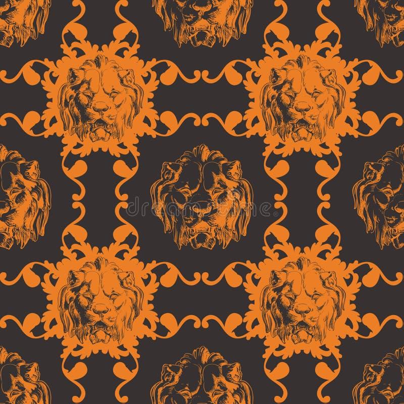 Иллюстрация вектора с львом и барокк бесплатная иллюстрация